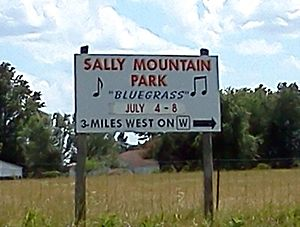 Rhonda Vincent - A highway sign in Queen City, Missouri directing attendees to the annual Sally Mountain Bluegrass Festival