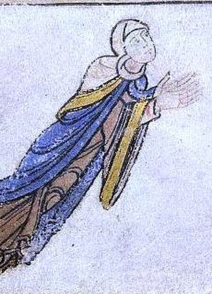 Adeliza of Louvain - Detail of a Shaftesbury manuscript, most likely depicting Adeliza