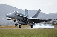 RAAF FA-18A landing at 2011 Avalon Air Show.jpg