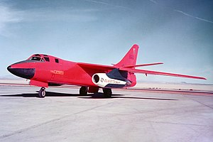 General Electric CJ805 - RB-66A test aircraft powered by two GE CJ805-23 aft-fan engines, on the ramp at Edwards AFB