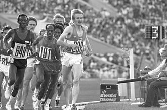 Blood doping - Kaarlo Maaninka (208), the subject of the first known blood doping case, in the 1980 Summer Olympics 5,000 m race.