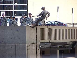 Army Reserve Officers' Training Corps - An Army ROTC unit practicing rapelling from a parking garage in September 2010