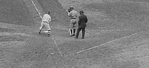 Intentional base on balls - Photo showing pre-1920 catcher's lines