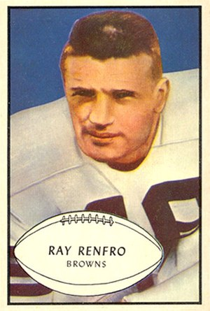 Ray Renfro - Renfro on a 1953 Bowman football card