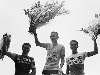 1964 Tour de France - The final podium of the general classification. Left-to-right: Raymond Poulidor, Jacques Anquetil and Federico Bahamontes