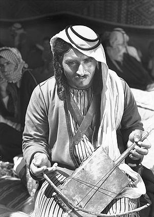 Rebab - Bedouin playing a rebab during World War II
