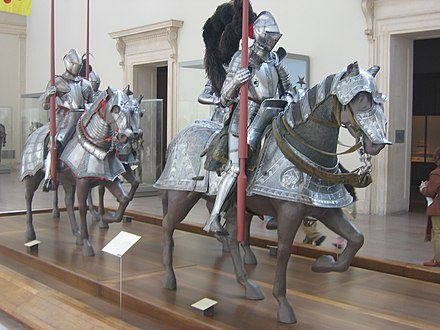 Heavily armoured riders and their barded war horses, 16th century MET Armures.jpg