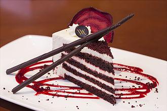 Red velvet cake - Four-layer slice of red velvet cake from the Waldorf-Astoria