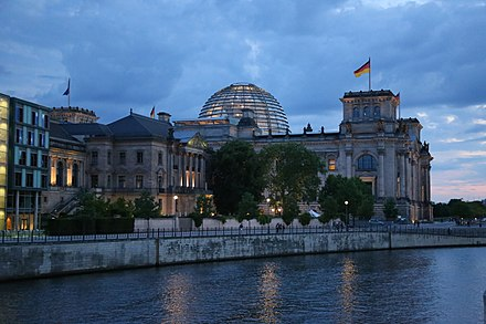 Rear of the Reichstag as seen at night from across the Spree Reichstag at-night.JPG