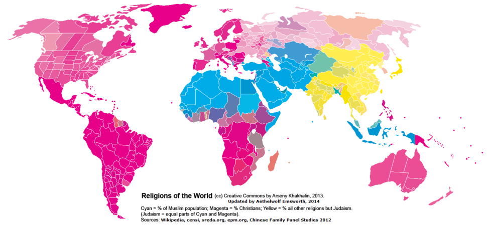 Religions in the world by regions
