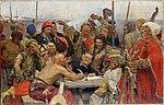 Reply of the Zaporozhian Cossacks (sketch, 1893, Kharkiv).jpg