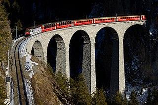 six-arched railway viaduct spanning Landwasser River between Schmitten and Filisur, in Graubünden, Switzerland