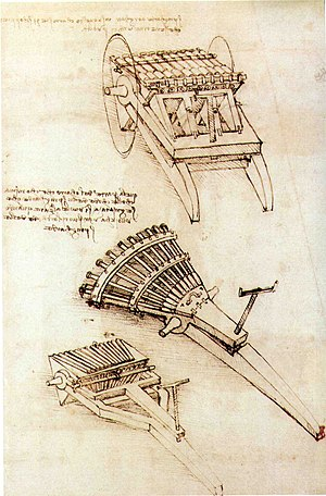 Ribauldequin - A drawing of ribauldequins, as designed by Leonardo da Vinci.