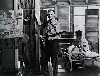 Richard E. Miller - Richard E. Miller in his Provincetown studio, 1920s