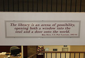 Rita Dove - Poet Laureate Rita Dove's definition of a library at the entrance to the Maine State Library in Augusta, Maine