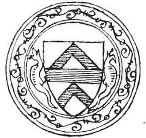 Robert FitzWalter, 1st Baron FitzWalter - Drawing (1611) of seal of Robert FitzWalter appended to the Barons' Letter, 1301