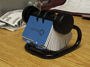 English: present model of Rolodex card file, c...