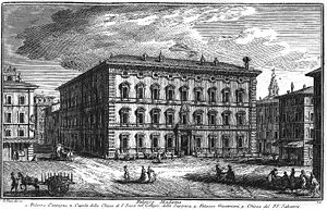 Senate of the Republic (Italy) - Palazzo Madama as it appeared in 17th century