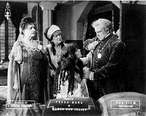 Alice Gale - From Romeo and Juliet (1916). Standing, L-R: Helen Tracy (Lady Capulet), Alice Gale (Nurse), and Edward Holt (Capulet). Seated: Theda Bara as Juliet.