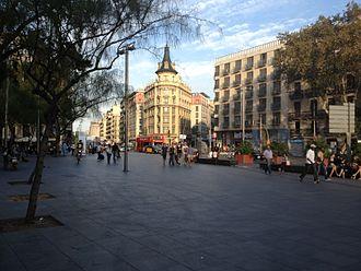 Plaça de la Universitat, Barcelona - Ronda de la Universitat as seen from Plaça Universitat
