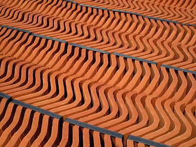 Packed clay rooftiles