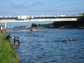 Challenge Roth - competitors preparing to start the 2005 race