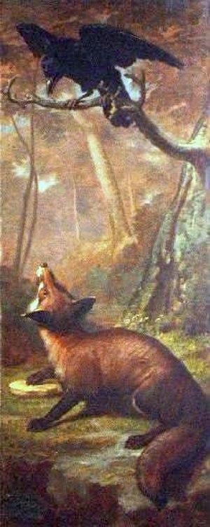The Fox and the Crow (Aesop) - Léon Rousseau's painted panel of the fable, Musée Jean de La Fontaine.