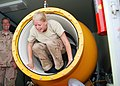 Royal Netherlands Navy Cpl. Emmylou Bakker, a diving medical nurse, climbs out of a hyperbaric decompression chamber during a mine diving rescue exercise in support of Mine Countermeasures Exercise (IMCMEX) 2013 130516-N-QS318-006.jpg
