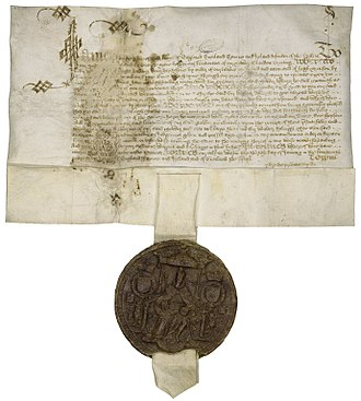 James I's royal warrant pardoning Raleigh in 1617. Royal Pardon of Walter Raleigh.jpg