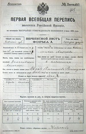 Russian Empire Census - Image: Russian census 1897 p 1