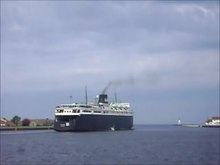 File:S.S. Badger leaving Ludington.webm