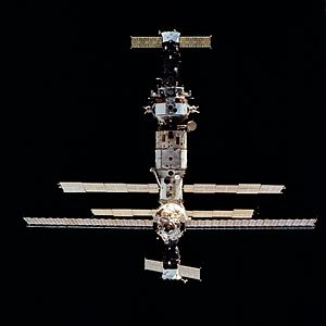 STS-63 - Mir as seen from Space Shuttle Discovery during STS-63, with Soyuz TM-20 seen at the top