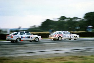 Willhire 24 Hour - Two cars battling into Riches Corner, 1990