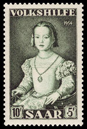 Portrait of Bia de' Medici - A 1954 Saarland stamp of the Bia de' Medici portrait, commemorating the work of Agnolo Bronzino.