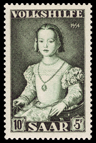 Bia de' Medici - A 1954 Saarland stamp of the Bia de' Medici portrait, commemorating the work of Agnolo Bronzino.