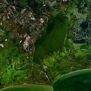 Sabine Lake Estuary on the Texas–Louisiana border