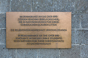 Persecution of Jehovah's Witnesses in Nazi Germany - Memorial plaque at Sachsenhausen concentration camp