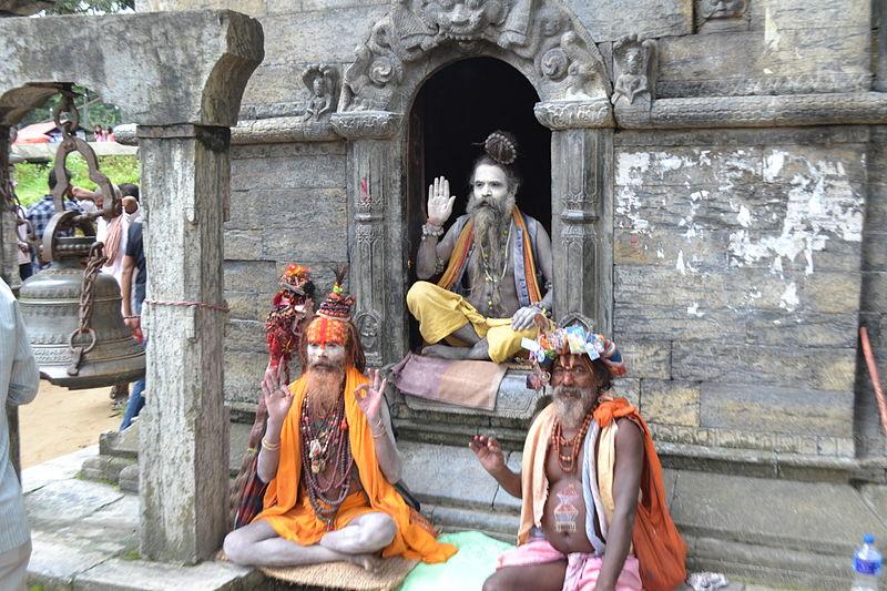 Sadus at Pashupatinath temple.JPG