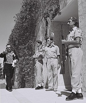 Iran–Israel relations - Iranian minister Reza Saffinia arriving at the house of Israeli president Chaim Weizmann in Rehovot on Yom Ha'atzmaut, 1950.