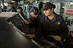 Sailor stands watch on the bridge of USS Kearsarge during a replenishment-at-sea. (36516222064).jpg
