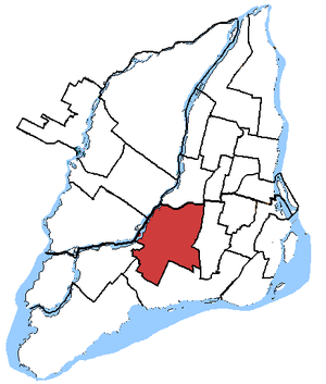 Saint-Laurent (electoral district) - Saint-Laurent—Cartierville in relation to other federal electoral districts in Montreal (2003 boundaries)