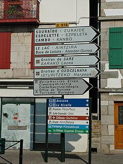 Billingual French-Basque language signage in Saint-Pée-sur-Nivelle.