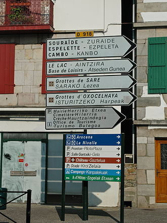 French Basque Country - Bilingual French-Basque language signage in Saint-Pée-sur-Nivelle