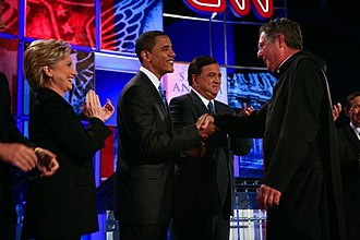 2008 Democratic Party presidential debates and forums - Image: Saint Anselm Debate Fr. Johnathan Obama