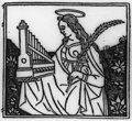 Saint Cecilia holding her emblems- portable organ and martyr's palm LCCN2007681106.jpg