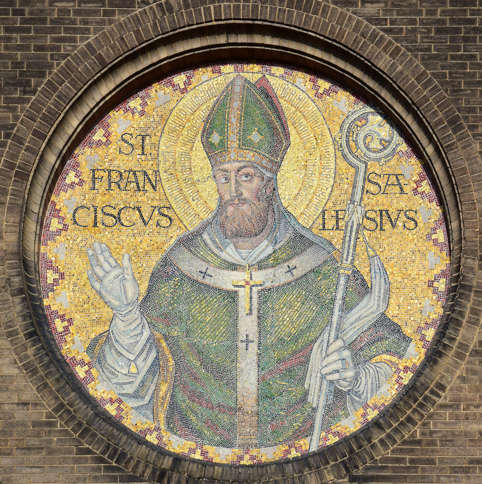 Saint Francis de Sales Oratory (St. Louis, Missouri) - St. Francis de Sales mosaic (perspective corrected)