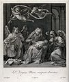 Saint Mary (the Blessed Virgin) with angels. Engraving by G. Wellcome V0034073.jpg