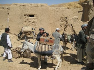 Samangan Province - Villagers in Samangan province receiving food parcels