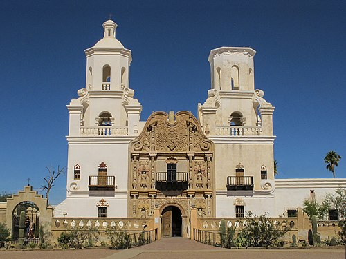 Mission San Xavier del Bac, a historic Spanish Catholic mission located on the Tohono O'odham San Xavier Indian Reservation.