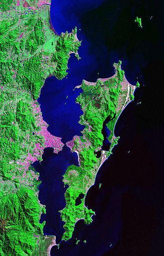 Coastline of Brazil - Satellite view of Ilha de Santa Catarina, one of the largest sea islands of Brazil.